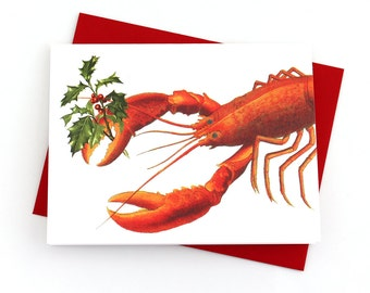 Lobster Christmas Card, Christmas Card Set, Nautical Christmas Cards, Funny Christmas Cards, Set of 8