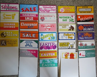 Store sales signs, year round holidays and events,Pre-printed headers with blank space,plaquards,announcements,invitations,store sales