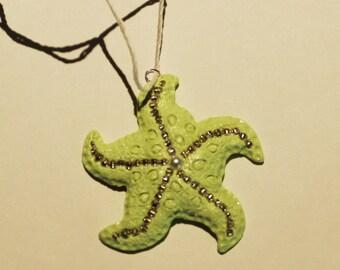 Polymer Clay Green Starfish Pendant, Necklace, Jewel, Handmade