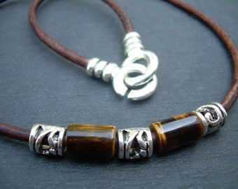 Leather Necklace, Mens Necklace, Gemstone Necklace, Tiger Eye,  Mens Jewelry, Fathers Day, Mens Gift, Graduation Gift, Gift for Him