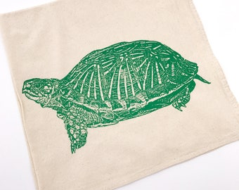 Turtle Tortoise Tea Towel in Green - Hand Printed Towel (Unbleached Cotton)