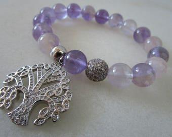 Tree of life bracelet Ametryn bracelet semi-precious stones bracelet for woman gift for woman jewelry gift Tree of life jewelry