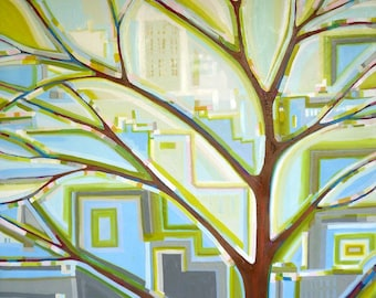City Life no. 1 (48x48) Tree painting on canvas by Kristi Taylor