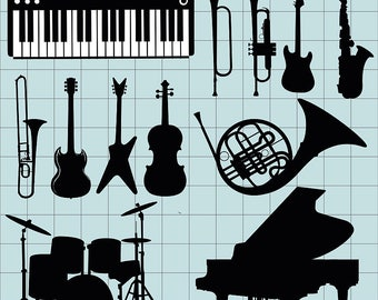 Musical Instrument Clipart, Music Clipart, Musical Clip Art, Piano Guitar Jazz Violin Saxophone, Printable, Digital Download, Vector