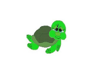 Plastic Canvas Sad Eyes Turtle Wall Hanging Instant Download