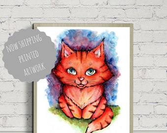 Kitten Poster, Cat Poster, Poster Print, Nursery Decor, Children's Room, Wall Art, For Cat Lovers, Colorful cat, watercolor Cat, Cat Art
