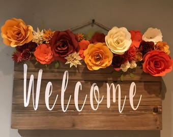 Fall Flower Welcome Sign