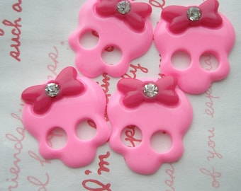 SALE Skull with bow and rhinestone 4pcs PINK