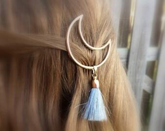 Crescent Moon Tassel Hair Clip Boho Gifts For Women Hair Barrette Gypsy Soul Trending Now Gifts Under 20 For Her Stocking Stuffer