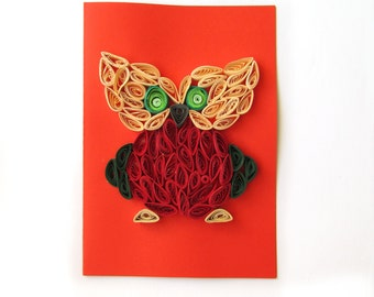 Quilled Owl Card, Bird Kid Card, Owl Stationary, Blank Personalized Birthday Greeting Card