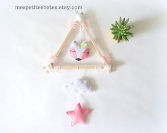 Pink baby mobile, fox mobile for nursery, baby girl nursery decoration,  cloud mobile, fox nursery decoration, wooden mobile, baby girl gift