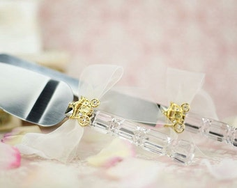 Cinderella Fairy Tale Coach Wedding Cake Server Set (Silver/Gold) - Custom Engraving Available - 55220