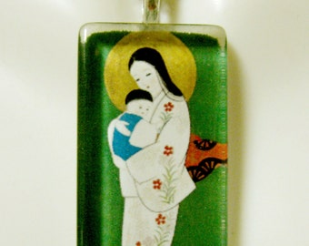 Japanese madonna and child pendant with chain - GP12-360