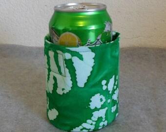 Insulated Can Cooler - Green Batik