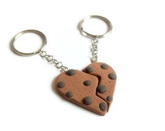 Couple heart keychain, Heart cookie, Cute cookie keychain, Couple keychain, Valentines day gift, Cute gift, Cookie heart, Gift for him, Gift