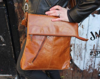 Amelie, Tan smooth Leather Bag, Adjustable Messenger, Shoulder Bag, Cross-body, Foldover Zip Bag