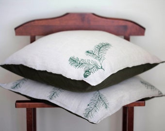 FREE SHIPPING!!! Fir branch pillow cover, hand printed, pine print, pinetree, spruce pillowcase, forest interior, cushion cover, cone