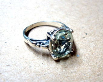 Ring Green Amethyst in sterling silver - custom size Fair Trade, eco-friendly, Made in USA - clear Caribbean Ice engagement anniversary