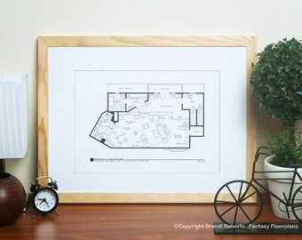 Mary Tyler Moore Show Apartment - TV Show Floor Plan - Blackline Poster for Residence of Mary Richards - Architectural Art