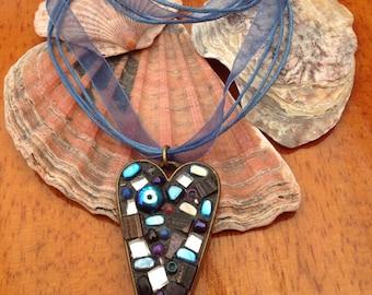 Blue Heart Mosaic Necklace Pendant