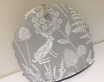 Teapot Cosy - Woodland Grey and White fabric - Hares