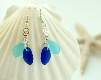Blue sea glass earrings dangle earrings jewelry cobalt blue seaglass earrings sea seaglass jewelry bridesmaids earrings bridesmaids jewelry