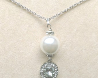 Genuine Pearl Long necklace, South Sea White Pearl Pendant, Crystal Rhinestone, Sterling Silver, Gift for Bride, gift for her, gift for wife