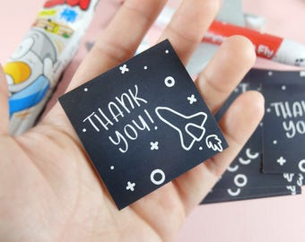 10 Stickers! Thank you sticker, party favors, space, rocket ship, birthday party, Set of 10