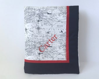 Navy Blue Air Traffic Baby and Toddler QUILT BLANKET - Navy Vintage Airplane Quilt Blanket - Airplane Baby Blanket - Aviation Baby Blanket
