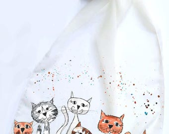 Chiffon scarf, cat scarf, animal scarf, cream scarf, unique scarf, Christmas gift, for her