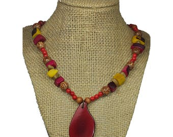 Red Tagua Necklace - Red Necklace - Tagua Nut Necklace - Natural Necklace - Boho Necklace