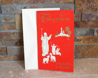 Vintage Christmas card - embossed Christmas card - mid century greeting card and envelope - vintage stationery