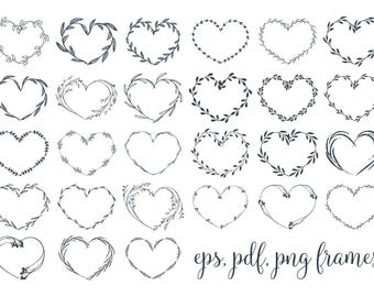 Heart Frames Clipart Botanical Wreaths Clip Art Png Vector Eps Pdf