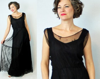 1930s Net Dress / 30s Net Dress / 30s Mesh Dress / 1930s Mesh Dress / 30s Evening Gown / 1930s Evening Gown / 30s 1930s Dress / Waist 35""