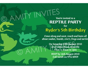 Reptile Invite Personalised Printable. Dinosaur snake lizard