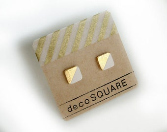Square stud porcelain earrings- white, gold dipped, 24k gold filled, geometric studs, white earrings, minimalist studs, gift for her