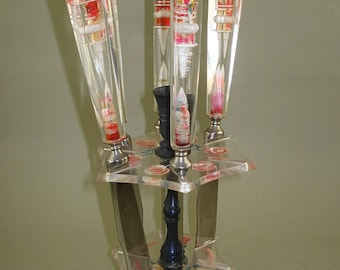 Set of 5 Vintage Old Knives With Lucite Handle and stand, old knives set,