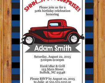 Adult Surprise Classic Car Birthday Party Invite Red Car Masculine Man Navy Grey Stripes Invitation Stripes 5x7 Digital JPG File (454)