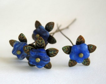 Blue Flower  Headpins 2 Inch long - 4.