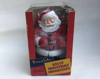 1950's Royalite Jolly Santa Bubble Light with Partial Original Box Vintage Bubble Lite