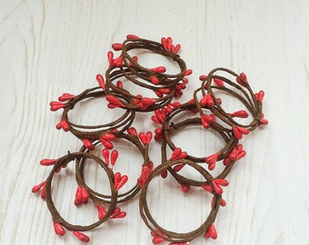 Set of Red and Green Berry Napkin Rings Set, Green Thanksgivings Napkin Rings, Rustic Napkin Rings, Green Floral Napkin Rings, Rustic Table