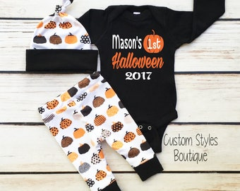 Baby Boys First Halloween Outfit,Customized Name, Black Long Sleeve Infant Bodysuit, Pants & Hat With Pumpkins, Baby Boy Halloween Outfit