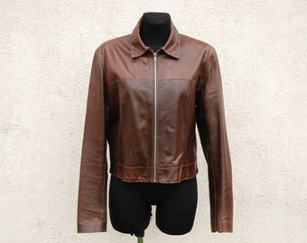 Vintage Fitted  Brown Leather Womens Jacket Zipper Jacket  Brown Leather Motorcycle Biker Jacket Women's Medium Size