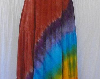 Halter Dress in Terracotta Sunset Tie Dye