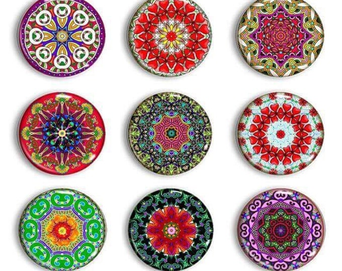 Mandala Magnets - Gift for Her - Refrigerator Magnets - Boho Magnets - Meditation Magnets - Magnetic Chalkboard - Unique Gift - Party Favors