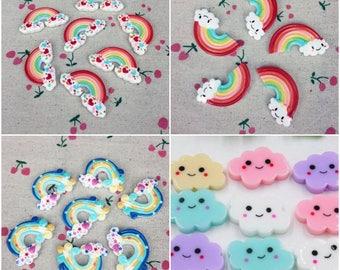 Rainbow Cabochon, Rainbow Flatback, Resin Rainbow, Cloud Cabochon, Cloud Flatbacks, Resin Cloud, Kawaii, Embellishments, Applique, Decoden,