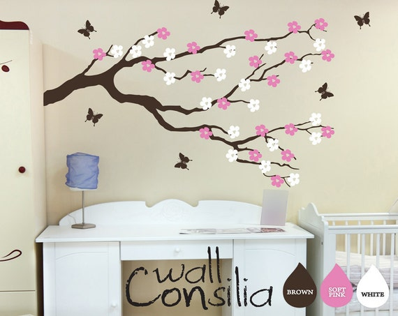 Blossom Tree Extra Large Wall Decal Japanese Cherry Blossom: Nursery Blossom Branch With Butterflies Wall Decal Wall