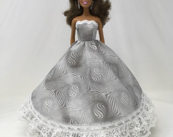 "Sparkly Doll Dress-11.5"" Doll Clothes-Sparkly Gray Dress-Birthday Party Dress-Fancy Doll Dress-Princess Dress-Girls Birthday Gifts-Toys"
