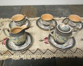 vintage JAPANESE DRAGON CREAMER, Sugar Bowl & 3 Cups and Saucers * Hand painted * Tea Set  Japan