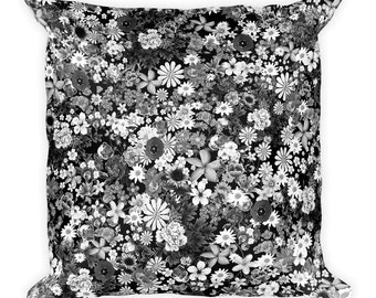 Floral Black and White Pillow